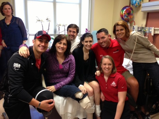 Gabe Martinez visits patients in Boston